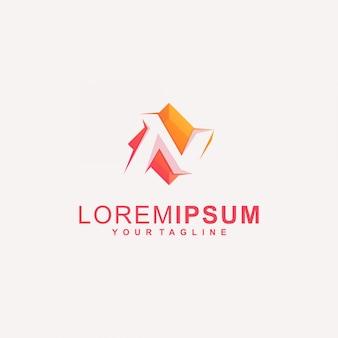 Logotipo impressionante do diamante da letra n