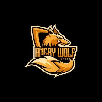 Logotipo impressionante do e-esporte do lobo