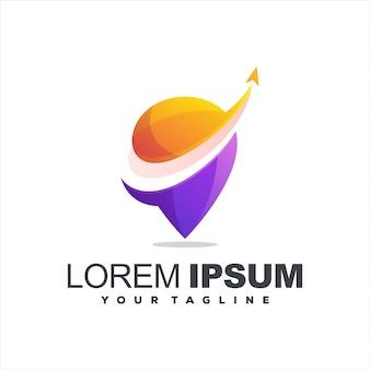 Logotipo impressionante do pino de gradiente
