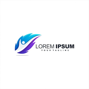 Logotipo impressionante gradiente de penas