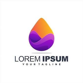 Logotipo impressionante gradiente gota