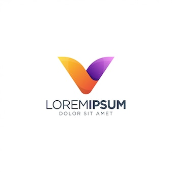 Logotipo impressionante letra v