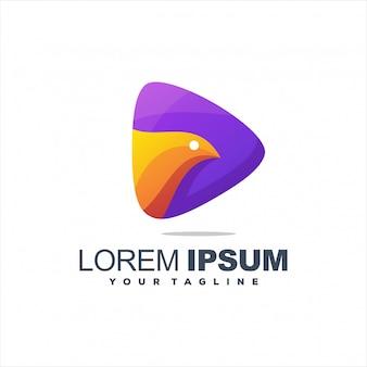 Logotipo impressionante pássaro gradiente