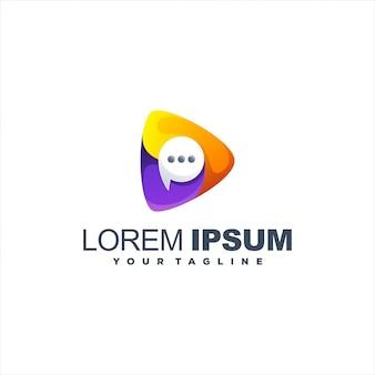 Logotipo incrível de gradiente de bate-papo