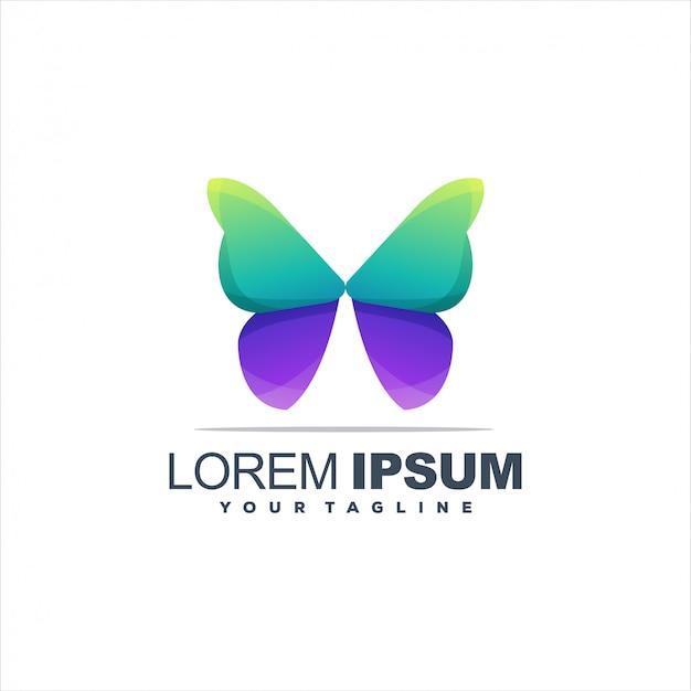 Logotipo incrível gradiente de borboleta