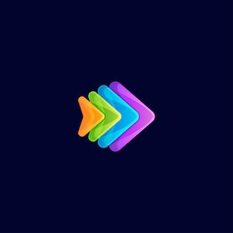 Logotipo incrível gradiente rápido peixe