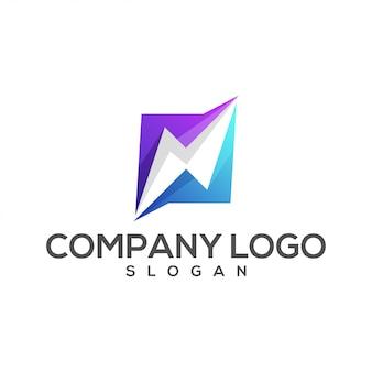 Logotipo incrível gradiente relâmpago