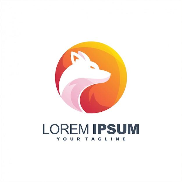 Logotipo incrível lobo gradiente