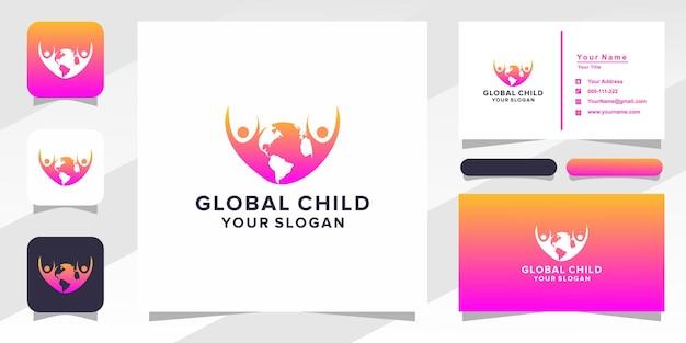 Logotipo infantil global e cartão de visita