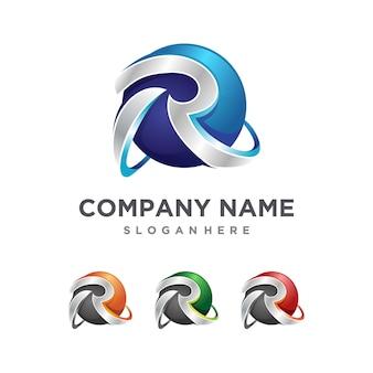 Logotipo inicial 3d criativo r