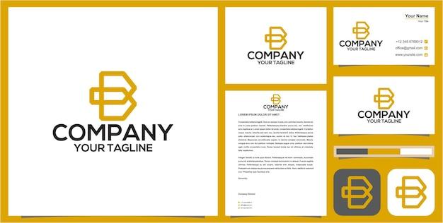Logotipo inicial b com cartão de visita