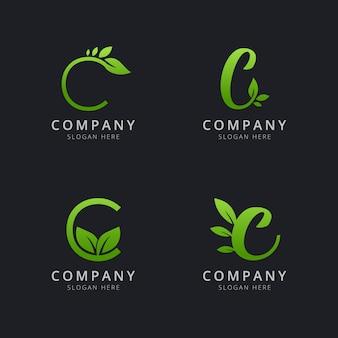 Logotipo inicial c com elementos de folha na cor verde