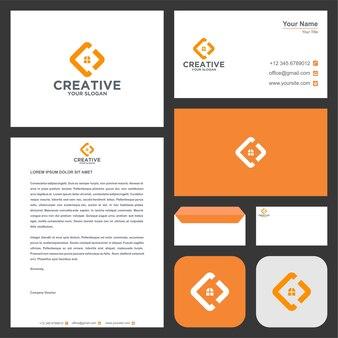 Logotipo inicial c no conceito criativo com cartão de visita