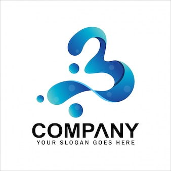 Logotipo inicial da letra b com bolha, logotipo número 3, número 3 ou símbolo da letra b