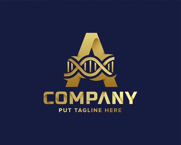 Logotipo inicial da letra dourada a e dna