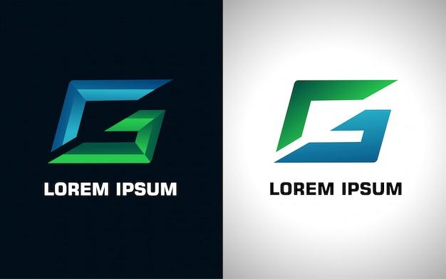 Logotipo inicial da letra g de azul e verde em duas versões