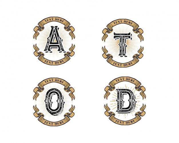 Logotipo inicial de carta criativa conjunto vintage retrô
