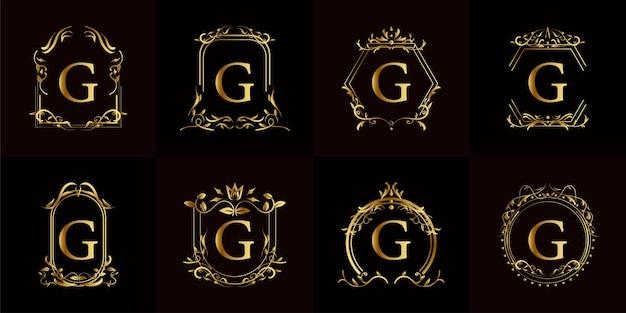 Logotipo inicial g com ornamento de luxo ou moldura de flor, conjunto de coleção.