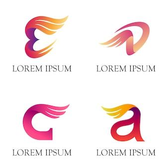 Logotipo inicial gráfico 3d com forma de asa
