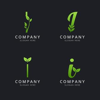 Logotipo inicial i com elementos de folha na cor verde