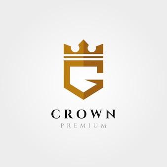 Logotipo inicial, letra g, com desenho de ilustração de símbolo vetorial de coroa