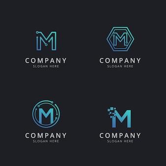 Logotipo inicial m com elementos de tecnologia na cor azul