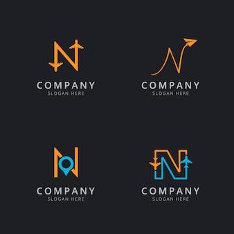 Logotipo inicial n com elementos de viagem em laranja e azul
