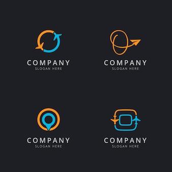 Logótipo inicial o com elementos de viagem nas cores laranja e azul