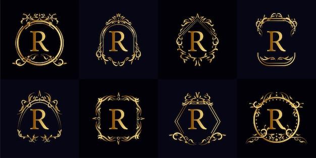 Logotipo inicial r com ornamento de luxo ou moldura de flor, conjunto de coleção.