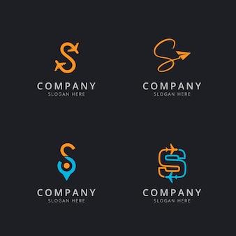 Logotipo inicial s com elementos de viagem em laranja e azul