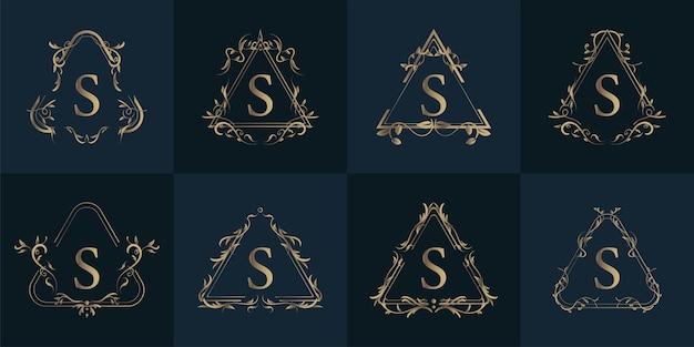 Logotipo inicial s com ornamento de luxo ou moldura de flor, conjunto de coleção.