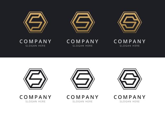 Logotipo inicial s dentro de forma de hexágono em ouro e preto