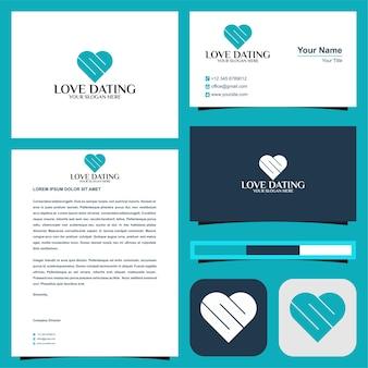 Logotipo inicial s ou e in love namoro ou datas amorosas com cartão de visita