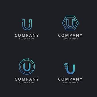 Logotipo inicial u com elementos de tecnologia na cor azul