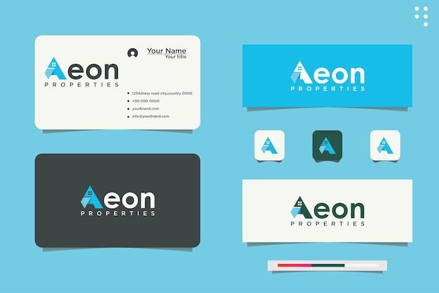 Logotipo inicial uma empresa imobiliária. projeto da casa azul. logotipo da ilustração de gestão de propriedade