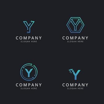 Logotipo inicial y com elementos de tecnologia na cor azul