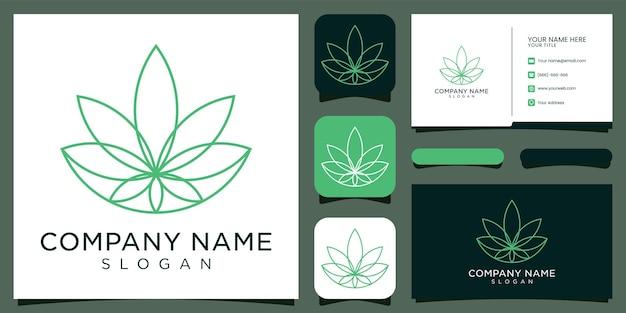 Logotipo inspirador cbd, marijuana, cannabis e cartão de visita.