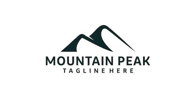 Logotipo inspirador da silhueta do pico da montanha