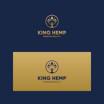 Logotipo inspirador rei cbd, maconha, maconha