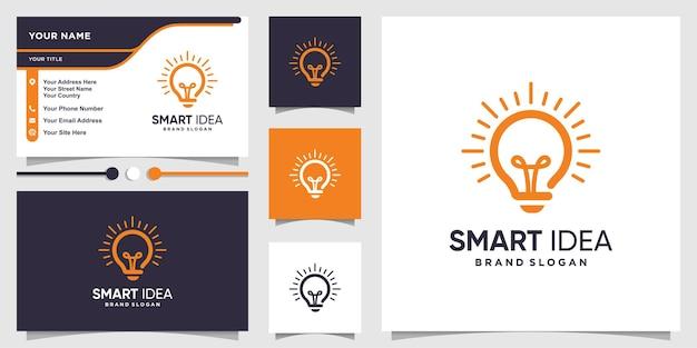 Logotipo inteligente com conceito de ideia de lâmpada e design de cartão de visita