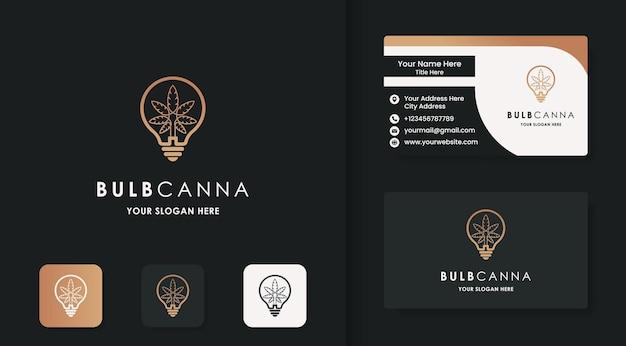 Logotipo inteligente da maconha, bolbo de maconha e cartão de visita