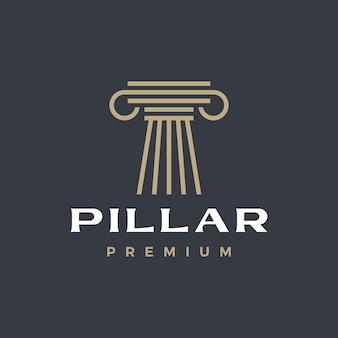 Logotipo iônico grego da coluna de pilar