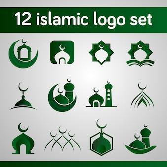 Logotipo islâmico conjunto com forma de mesquita e moderno conceito