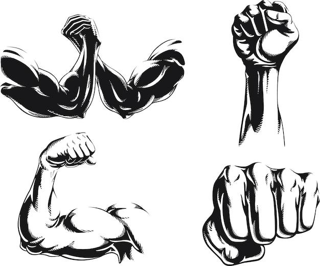 Logotipo isolado do braço do fisiculturista silhouette mma, ilustração em estilo preto e branco
