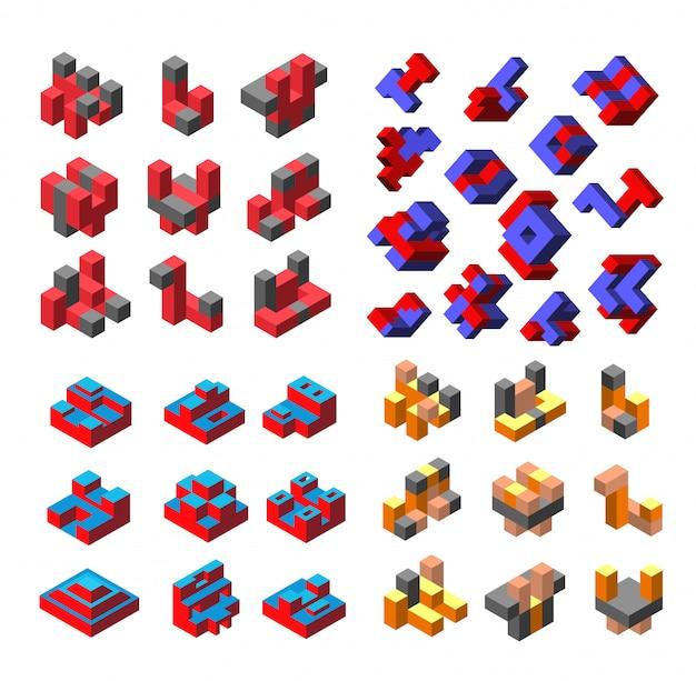 Logotipo isométrico abstrato