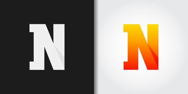 Logotipo laranja com letra n inicial Vetor Premium
