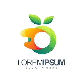 Logotipo laranja e verde