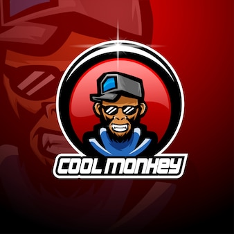 Logotipo legal da mascote esport macaco