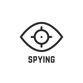 Logotipo linear do olho preto espião. conceito de íris humana, atirador militar, emblema de detetive, modelo de lente. estilo plano tendência olho moderno logotipo marca ilustração vetorial de design gráfico no fundo branco