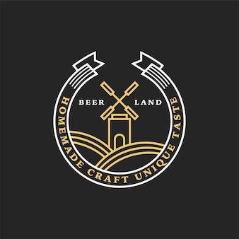 Logotipo linear dourado da cervejaria. moinho e fita
